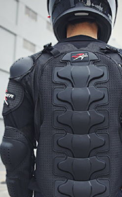 back of a person wearing a motorcycle body armor