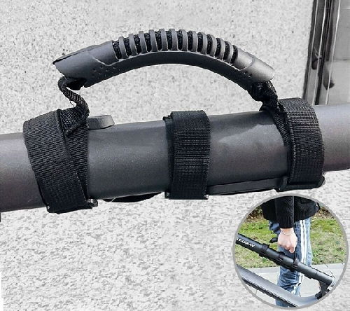 black carrying handle for electric scooter also showing how it looks to carry it