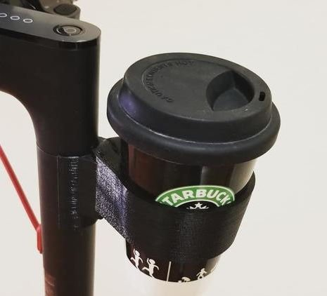 cup holder for an electric scooter attached on the stem