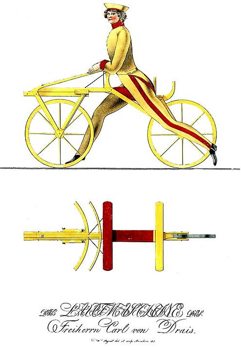an illustration of a person riding an early velocipede model