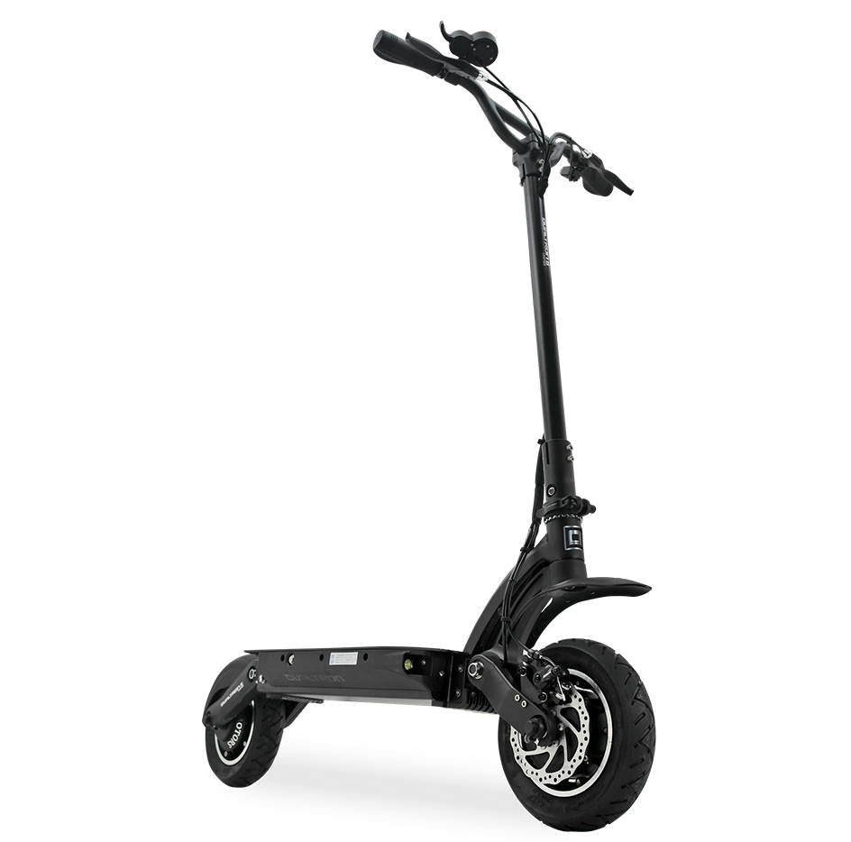 front diagonal view of a black Dualtron 2 electric scooter