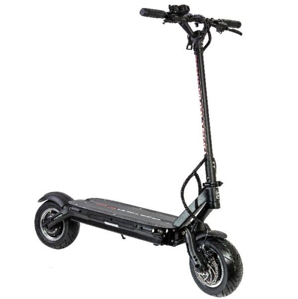front diagonal view of a black Dualtron Thunder electric scooter leaning on its stand