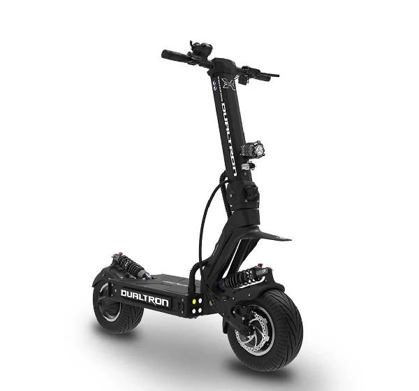 front diagonal view of a black Dualtron X electric scooter on a white background