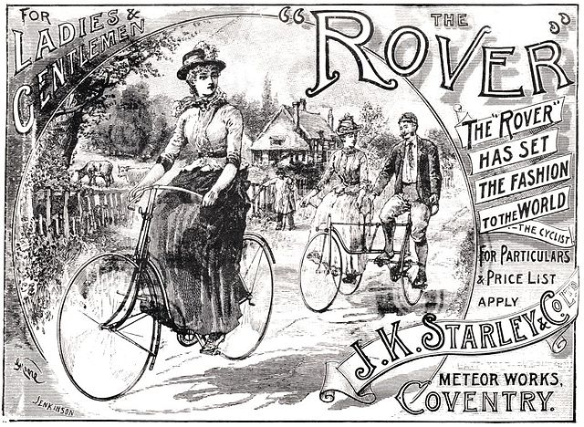 old advertisement for early bicycle models