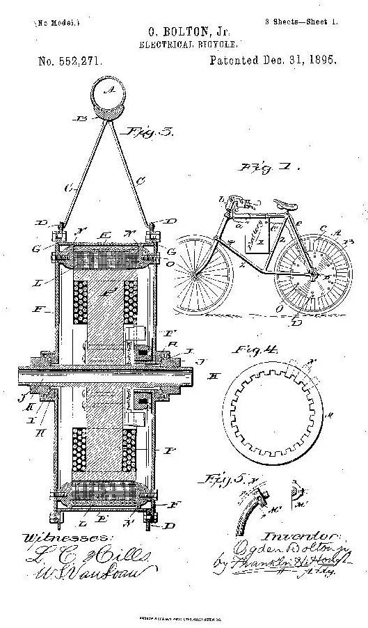 page from the patent of an electric bicycle
