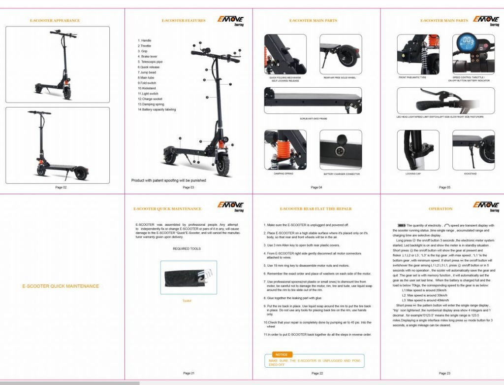 several pages from the user manual of the EMove Touring