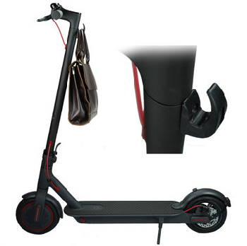 electric scooter hook with a bag hanging from it