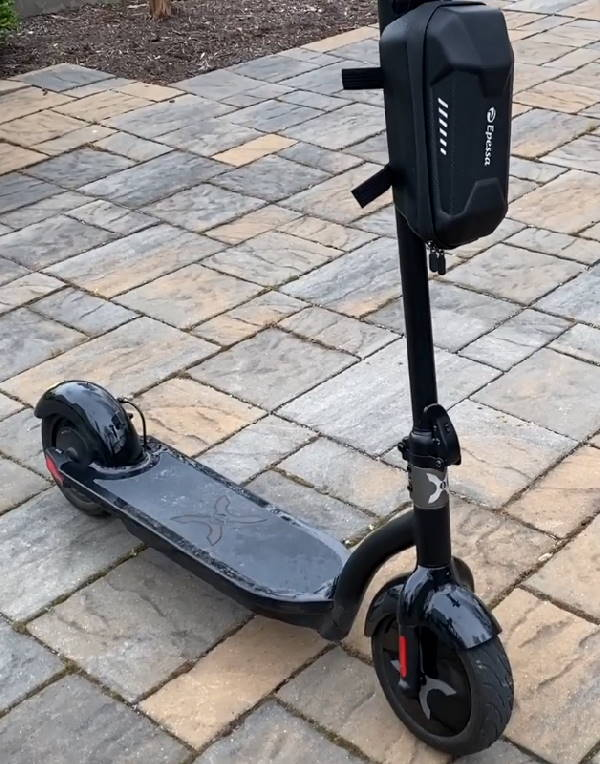 Hover 1 Alpha leaning on its kickstand