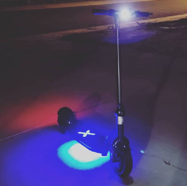 Hover 1 Alpha with all its lights on at night