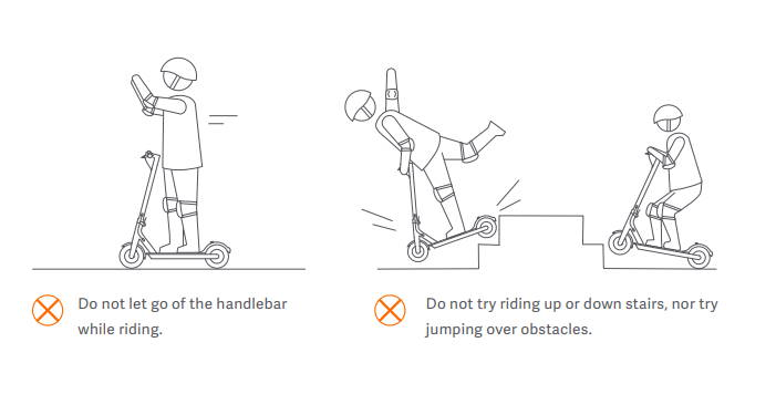 page from an electric scooter user manual demonstrating improper usage