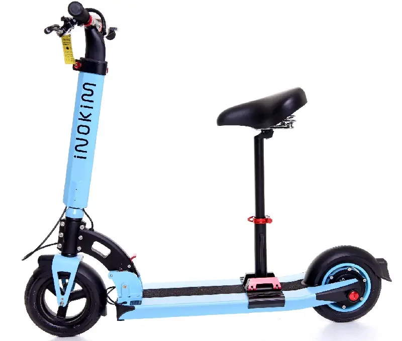 side view of a blue Inokim Light 2 with a seat