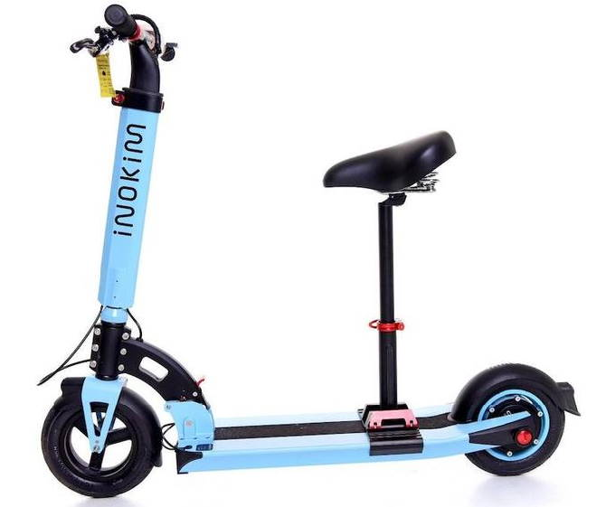 a blue Inokim Light 2 scooter with a seat