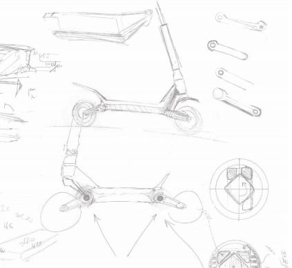 design sketches for the Inokim OXO electric scooter