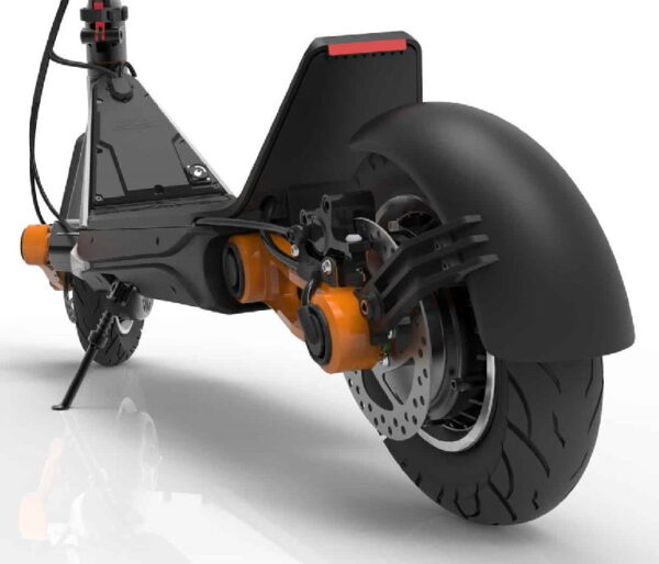 rear view of Inokim OXO electric scooter with rear wheel in focus