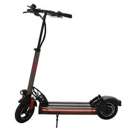 side view of a Kaabo Skywalker 10S electric scooter leaning on its stand on a white background