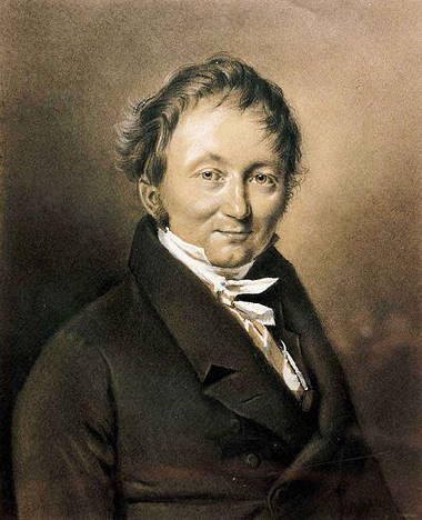 portrait of Karl Drais, the inventor of the first velosipede