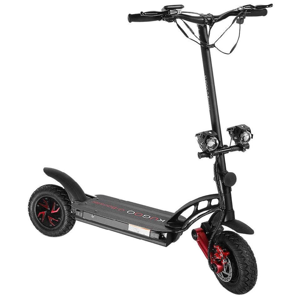 diagonal view of a sturdy black Kugoo G-Booster electric scooter