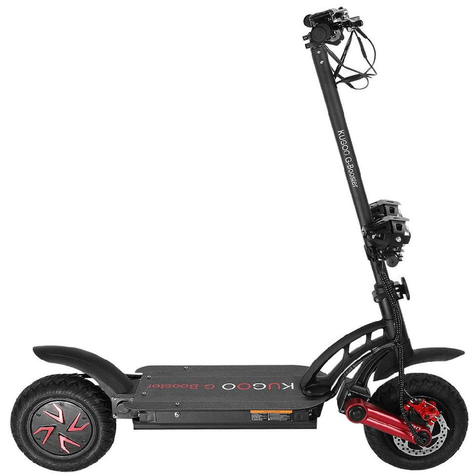 side view of a black Kugoo G-Booster with red details