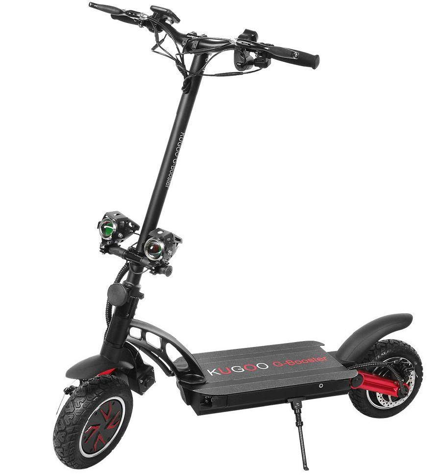 black Kugoo G-Booster with red details standing on its kickstand