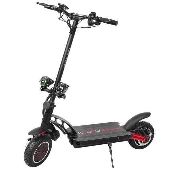 side view of a black Kugoo G Booster electric scooter with red details leaning on its stand