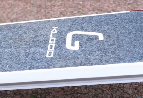 logo of Kugoo brand on an electric scooter board