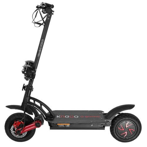 side view of a black Kugoo G Booster  electric scooter with red details on a white background