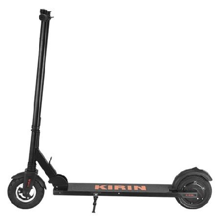 side view of a black Kugoo Kirin S2 electric scooter with orange logo on deck leaning on its stand on a white background