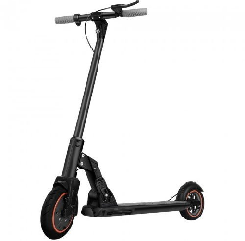 front diagonal view of a black Kugoo M2 Pro electric scooter with orange details on a white background