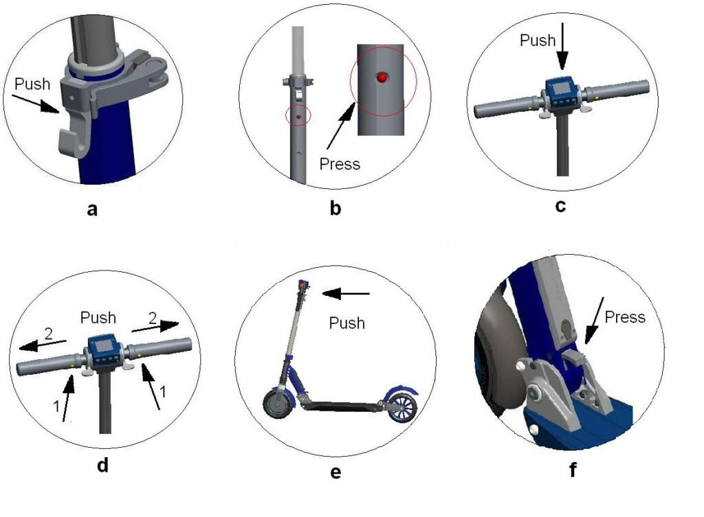 steps of folding procedure for Kugoo S1 Pro electric scooter