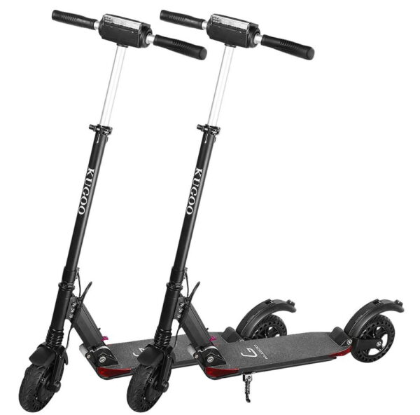 two Kugoo S1 Pro electric scooters one next to another