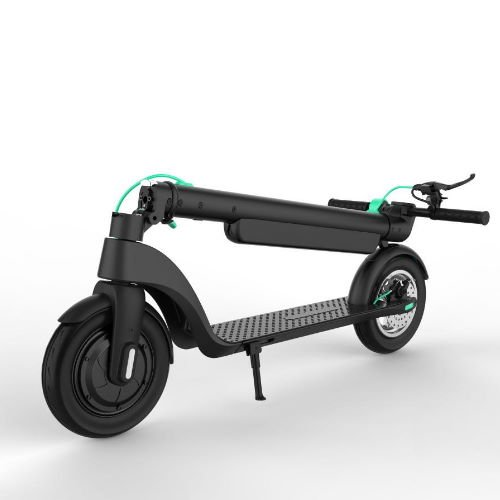 diagonal view of a folded Levy electric scooter on a white background