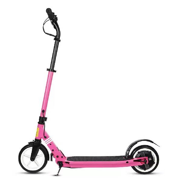 side view of a pink Tarsa T2 electric scooter on a white background