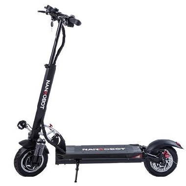 side view of the NanRobot D5+ electric scooter, leaning on its stand