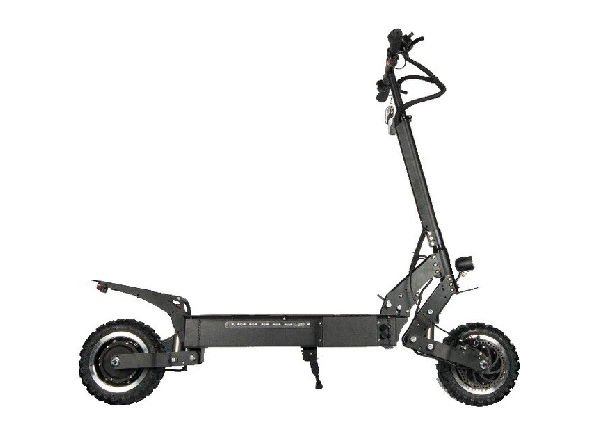 side view of a black NanRobot RS4 electric scooter leaning on its stand