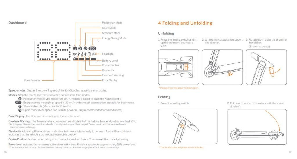 pages from the user manual of the Ninebot Air T15