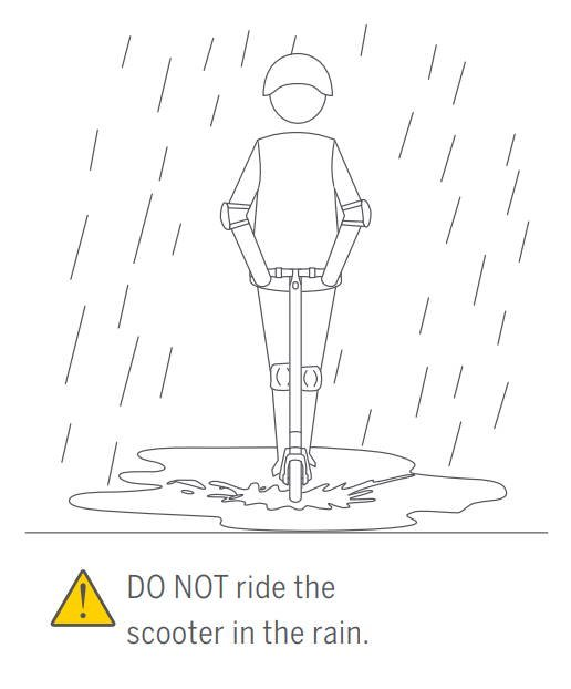 page from the user manual of the Ninebot ES4 warning against riding in the rain