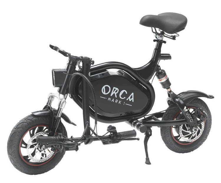 side view of a folded Orca Mark I seated electric scooter