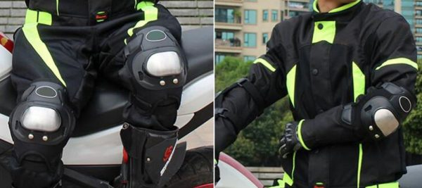 person wearing knee pads and elbow pads for an electric scooter