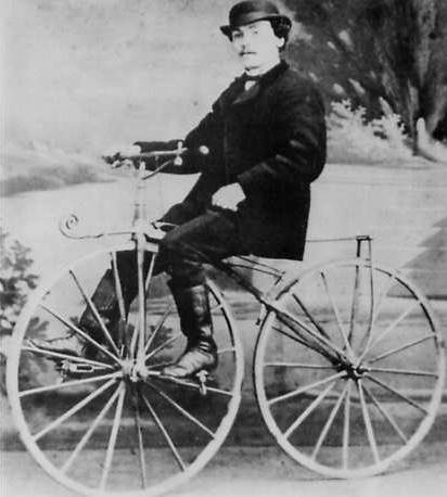 Pierre Lallemant, an early velocipede and bicycle inventor, riding a velocipede