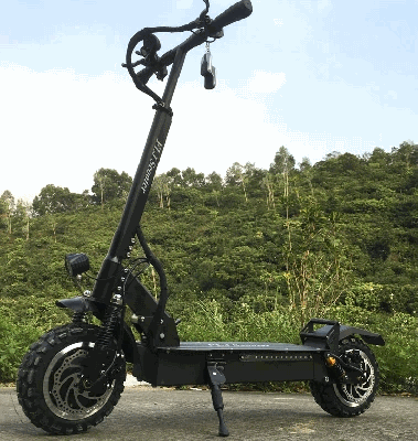 side view of a black FLJ T113 electric scooter leaning on a stand in a natural setting
