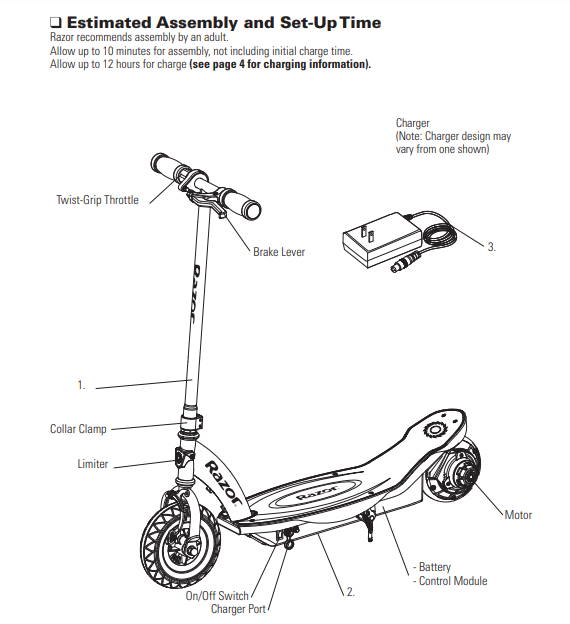 page from the user manual of the Razor E100