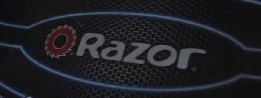 logo of the Razor scooter line on the deck of a scooter
