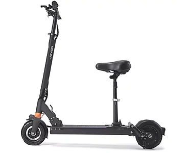side view of a black electric scooter with a seat on a white background