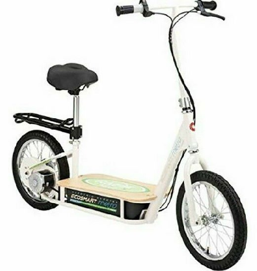 diagonal view of a Razor EcoSmart electric scooter with seat and a frame for a basket on a white background