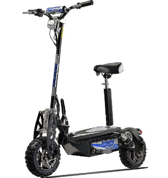 diagonal view of Uberscoot 1000W electric scooter with seat and blue details on a white background