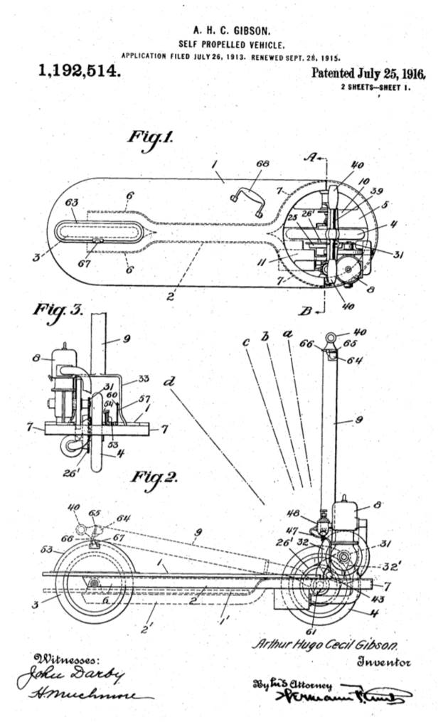 illustration from the patent from the Self Propelled Vehicle by Arthur Hugo Cecil Gibson