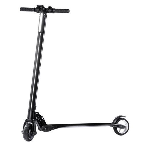 side view of a black SoFlow Air Carbon electric scooter on a white background