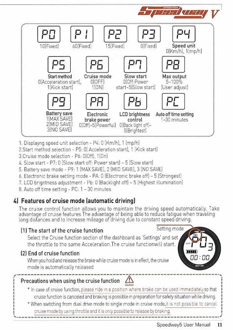 page from the user manual of the Speedway 5