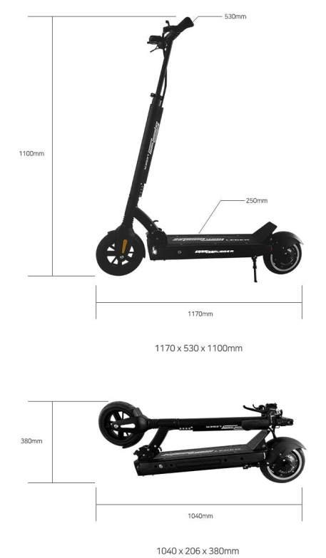 dimensions of an unfolded and folded Speedway Leger electric scooter