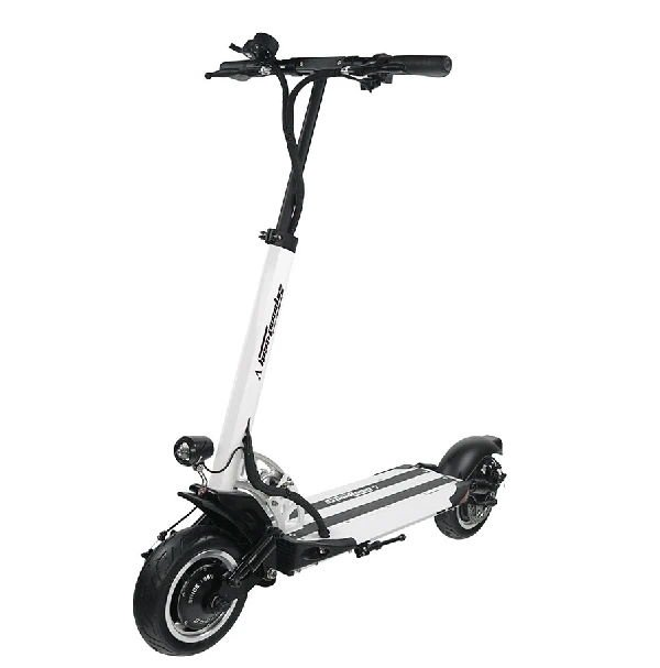 front diagonal view of a white Speedway 5 electric scooter with black details